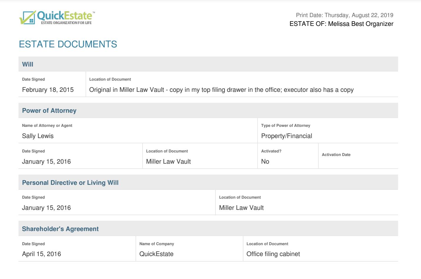quick estate documents